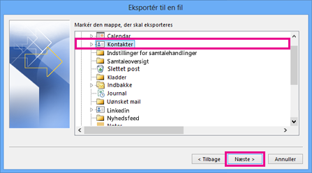 Guiden Eksportér i Outlook – vælge kontakter