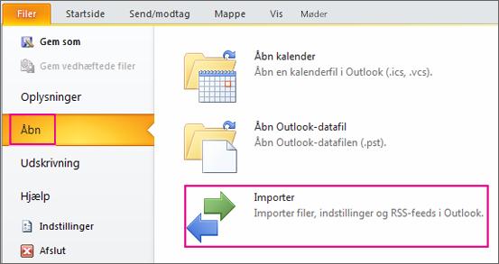 Vælg Åbn, og vælg derefter Importér.
