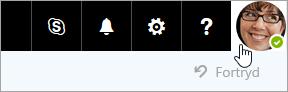 Et skærmbillede af et kontobillede på menulinjen i Office 365.