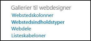 Indstillinger i Gallerier til webdesigner fra siden Indstillinger for websted i SharePoint Online