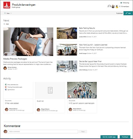 SharePoint-grupper webstedets startside