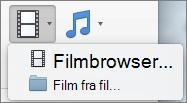 Skærmbillede viser browseren film og film fra filindstillinger tilgængelige fra rullelisten kontrolelementet Video. Vælg en indstilling for at indsætte en film i din PowerPoint-præsentation.