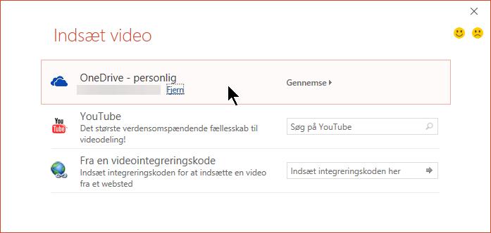 Dialogboksen Indsæt Video indeholder en indstilling til at åbne en integreret video fra OneDrive.