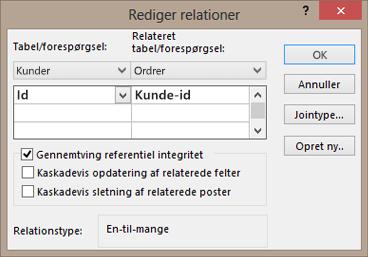 Redigering af en eksisterende relation mellem tabeller