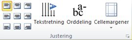Gruppen Tabeljustering i Publisher 2010