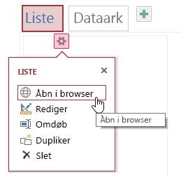 Genvejsmenu, der viser Åbn i browser, Rediger, Omdøb, Kopiér og Slet