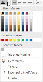 Palet med skriftfarver
