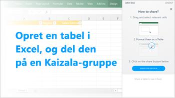 Skærmbillede: Opret en tabel i Excel, og del den i en Kaizala-gruppe