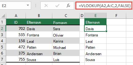Brug det traditionelle LOPSLAG med en lookup_value reference: =LOPSLAG(A2,A:C,32,FALSK). Denne formel returnerer ikke en dynamisk matrix, men kan bruges sammen med Excel tabeller.