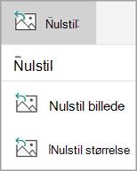 Nulstille menu
