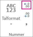 Knappen Forøg decimal