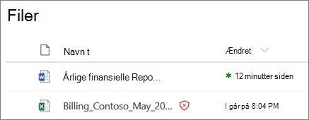 Skærmbillede af filer i OneDrive for Business med en, der er registreret som skadelig