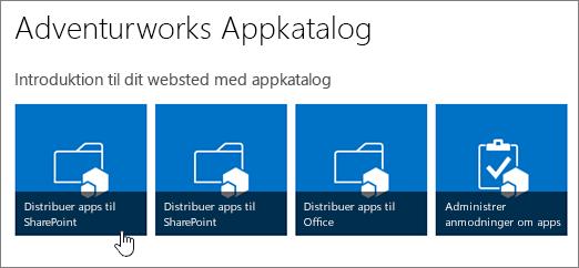 Introduktion til dine appkatalogsfliser med Distribuer Apps til SharePoint, der er fremhævet.
