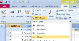 find feltdatatypen Notat i flere felter