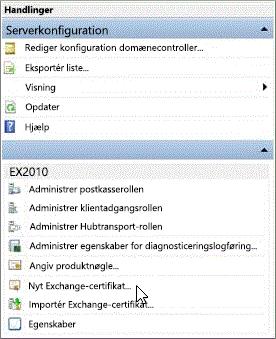 Vælg Nyt Exchange-certifikat i ruden Handlinger.