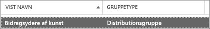 Vælg en distributionsgruppe fra gruppesiden