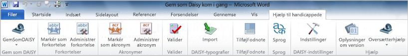Fanen Accessibility på Save as DAISY-båndet
