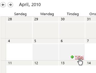 Linket Tilføj, i kalender