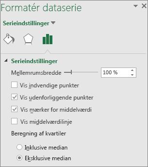 Opgaveruden Formatér dataserie med indstillingerne for boksplot og kassediagram i Office 2016 til Windows