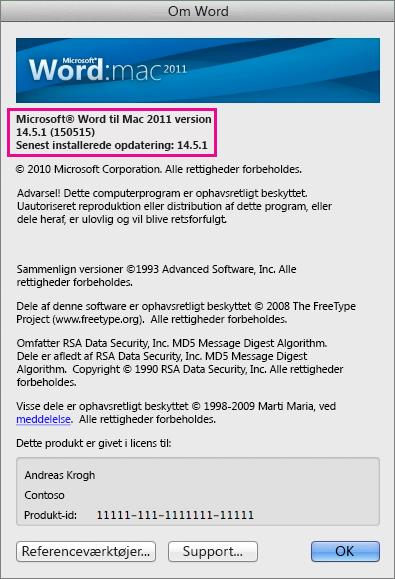 Word til Mac 2011 viser siden Om Word
