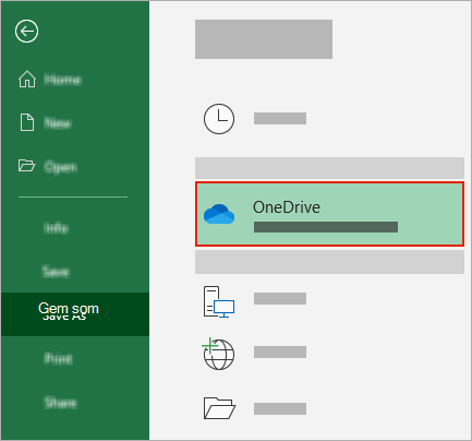 Dialogboksen Gem som i Office, der viser OneDrive-mappe