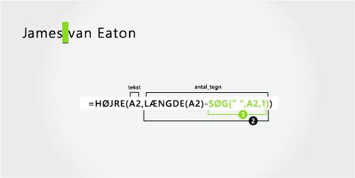 Formel til adskillelse af et fornavn og et efternavn i to dele