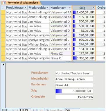 viser datasøjler i en delt formularvisning