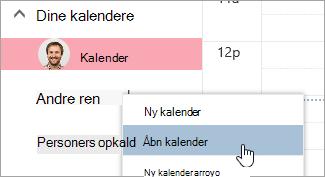 Et skærmbillede af indstillingen Åbn kalender