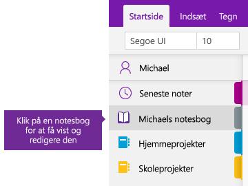 Skærmbillede af listen over notesbøger i OneNote