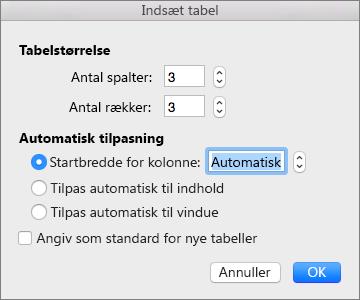 Viser indstillingerne for oprettelse af en brugerdefineret tabel