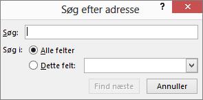 Skriv et navn i dialogboksen Søg efter adresse for at finde en modtager.