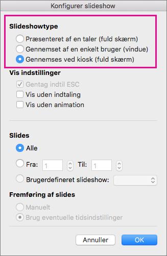 Indstillinger for slideshowtype