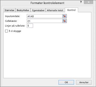 Dialogboksen Formatér kontrolelement