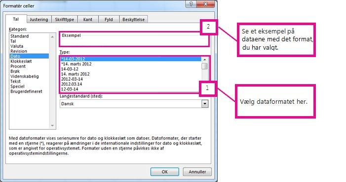 Vælg datoformat og derefter få vist et eksempel i feltet Eksempel