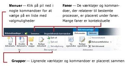 Oversigt over brugergrænsefladen på båndet i SharePoint