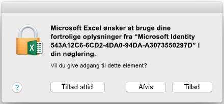 Anmodningen om nøglering på Office 2016 til Mac