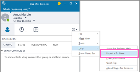 Skype for Business-klienten rapportering.