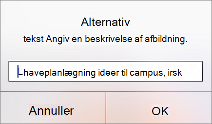 Alternativ tekst til menubillede i Outlook til iOS