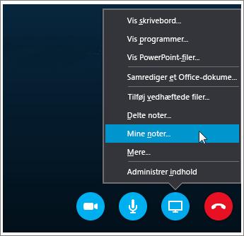Skærmbillede af hvordan man deler OneNote 2016-noter i Skype for Business.