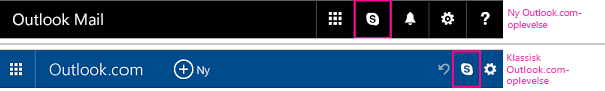 Skype-knap i den nye og tidligere Outlook.com