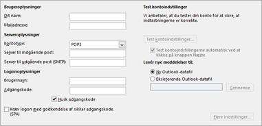 Angiv dine IMAP-kontoindstillinger