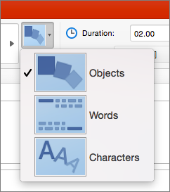 Viser effektindstillinger til Omform-overgangen i PowerPoint 2016 til Mac
