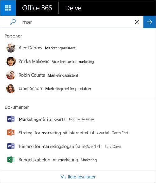 Brug søgning til at finde personer og oplysninger