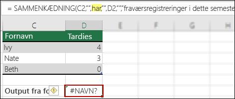 Fejlen #NAME? forårsaget af manglende dobbelte anførselstegn i tekstværdier