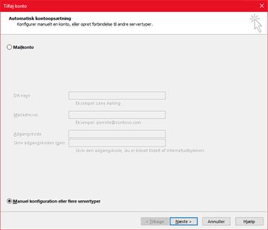 Vælg Manuel konfiguration eller flere servertyper