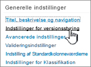 Vælg Indstillinger for versionsstyring under Indstillinger