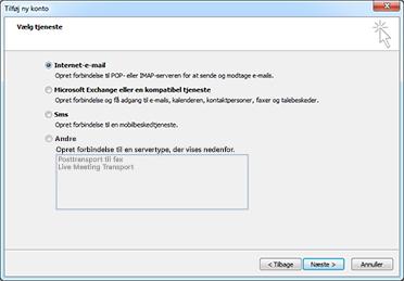 Vælg indstillingen Server i dialogboksen Tilføj ny konto