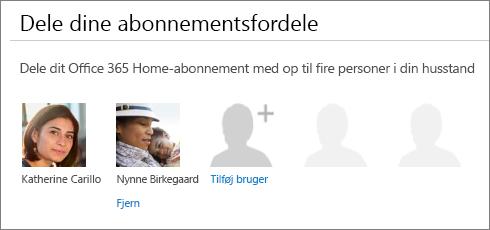 """Skærmbillede af sektionen """"Del dit abonnements fordele"""" på siden Del Office 365, der viser linket """"Fjern"""" under en brugers billede."""