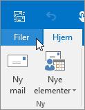 Skærmbillede af menuen Filer i Outlook 2016