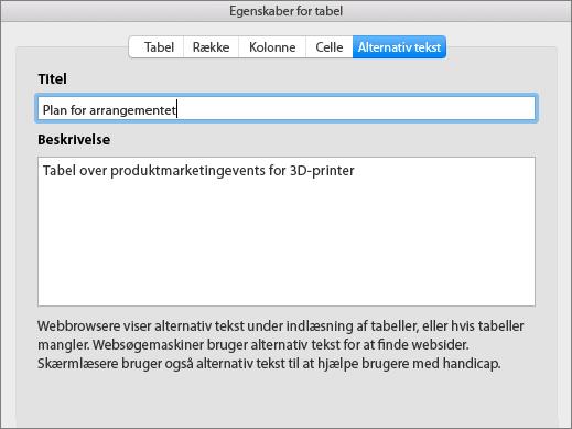 Skærmbillede af fanen Alternativ tekst i dialogboksen Egenskaber for tabel